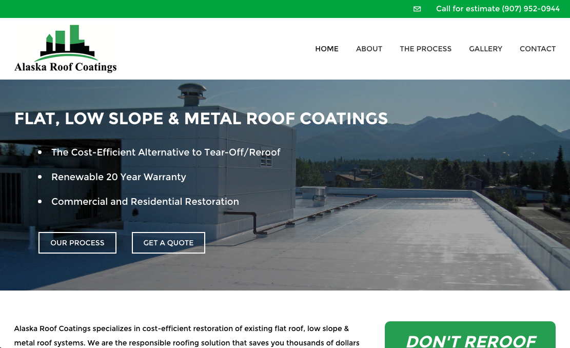 Alaska Roof Coatings website