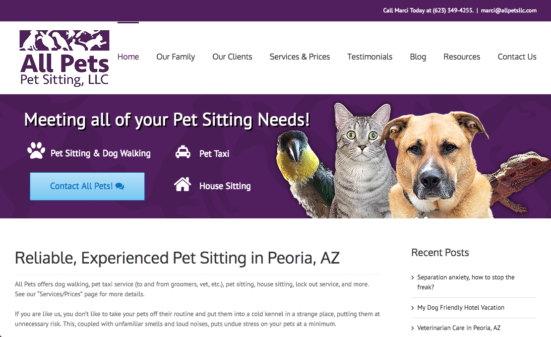 All Pets Pet Sitting website